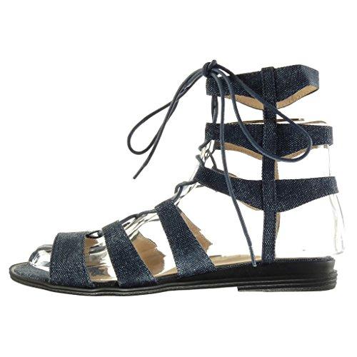 Angkorly - Scarpe da Moda sandali gladiatore sexy donna ricamo multi-briglia Tacco a blocco 2 CM - Blu