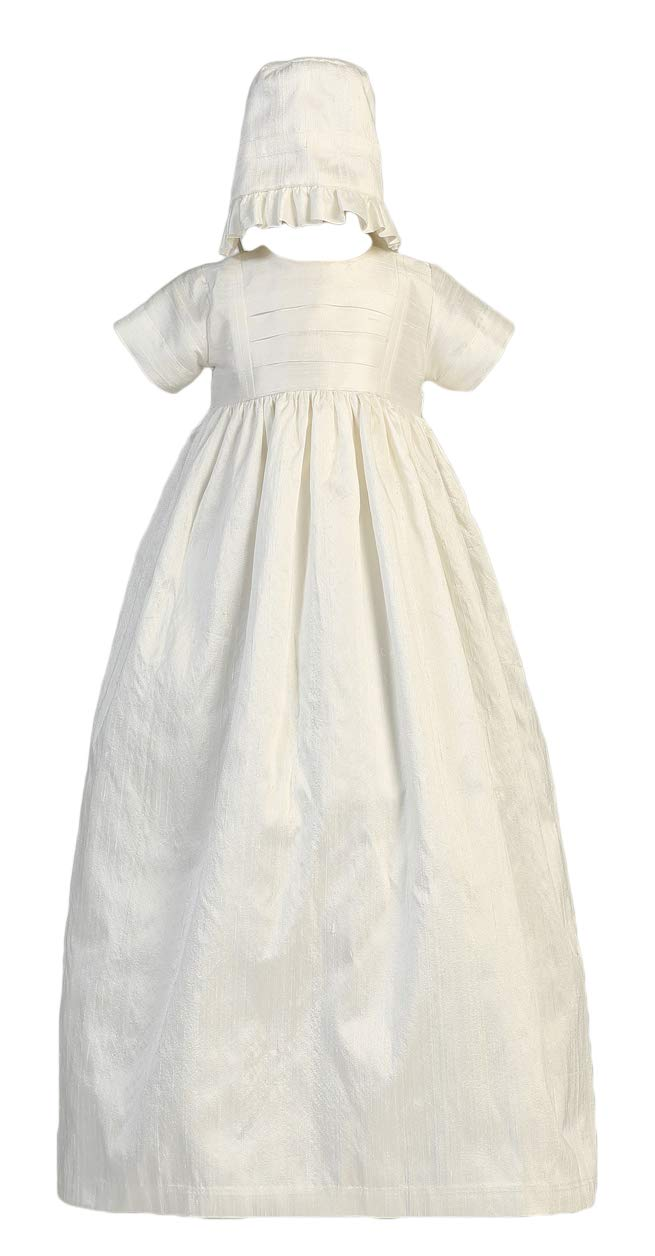 Silk HeirloomGown with Two Hats (Boy and Girl) Christening Baptism Special Occasion Family Outfit with Two Matching Hats - M (6-12 Month, 13-17 lbs) by Swea Pea & Lilli