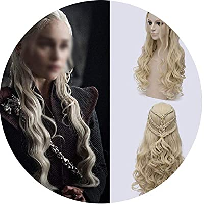 Game of Thrones Daenerys Targaryen Cosplay Wig Synthetic Hair Long Wavy Dragon of Mother Costume Wigs Tshirt,Blonde Tshirt,28inches