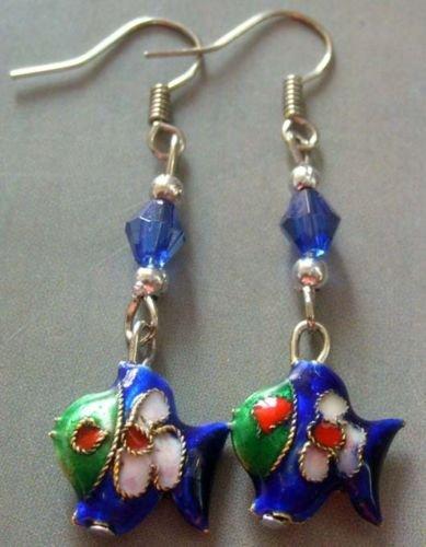 Gozebra(TM) Pair Of Cloisonne Enamel Alloy Metal Happy Lucky Fish Earrings Jewelry