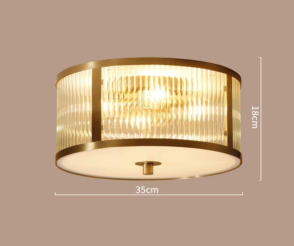 YG Ceiling Light Copper Lamp Living Room Lamp Dining Room Lamp Bedroom Round Study Ceiling Lamp,Diameter 35cm high 18cm