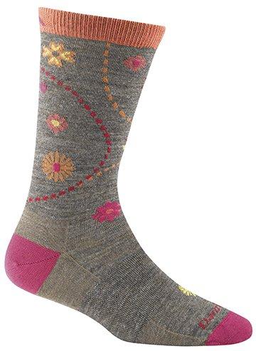 (Darn Tough Vermont Women's Spring Garden Crew Light Cushion Hiking Socks, Taupe,)