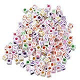 Souarts Mixed Acrylic Cube Shape Alphabet A to Z Engraved Loose Beads Pack of 1000pcs