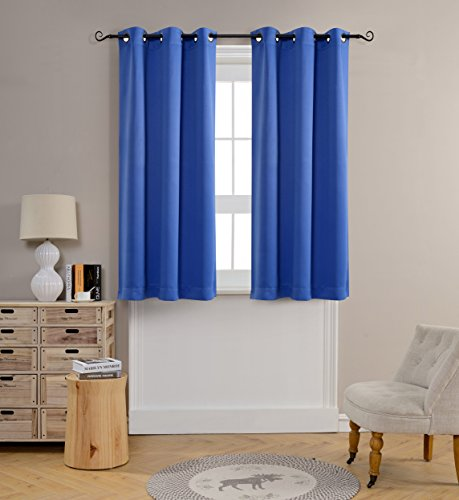 Mysky Home Grommet top Thermal Insulated Window Blackout Curtains for Kids Bedroom, 42 x 63 Inch, Royal Blue, 1 Panel