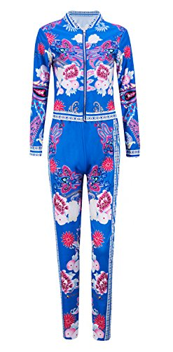 - Womens 2 Piece Outfits Floral Print Jacket Suit Bodycon Pants Sweatsuits Dashiki Blue, Medium