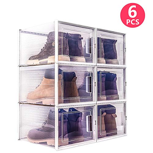 WAYTRIM Storage Shoe Box, Foldable Clear Sneaker Display Box, Stackable Storage Bins Shoe Container Organizer, 6 Pack - White, X-Large