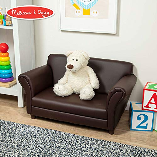 Melissa & Doug Child's Sofa, Coffee Faux Leather Children's Furniture (Kid-Sized Sofa, Sturdy Construction & Quality Materials, 34.4 H x 20.5 W x 18.3 L)