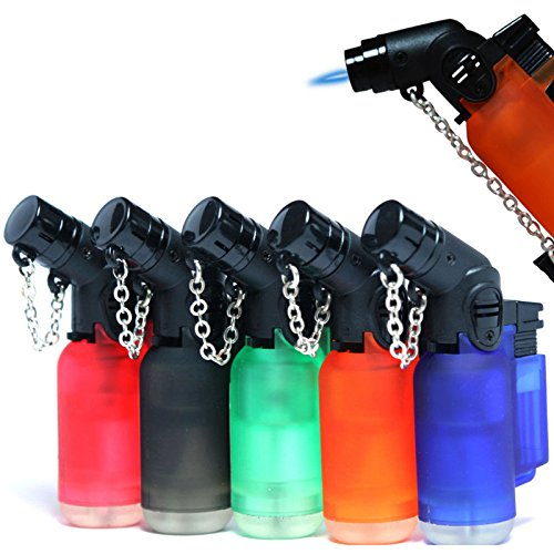 Pack of 10 Eagle Angle Torch 45 Degree Single Jet Flame Torch Lighter Windproof Refillable Lighter Assorted Color