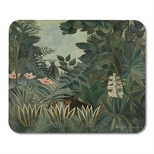 (Semtomn Mouse Pad The Equatorial Jungle by Henri Rousseau 1909 French Painting Mousepad 9.8
