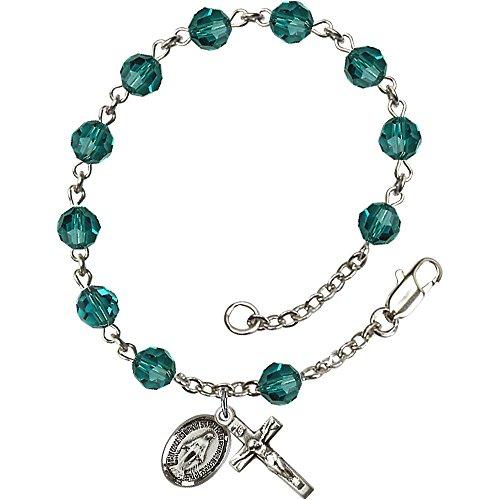 Sterling Swarovski Rosary Bracelets - Sterling Silver Rosary Bracelet 6mm December Blue Swarovski beads, Crucifix sz 5/8 x 1/4.