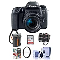 Canon EOS 77D DSLR with EF-S 18-55mm F4-5.6 IS STM Lens - Bundle with 16GB SDHC Card, Holster Case, Cleaning Kit, 58mm UV Filter, Memory Wallet, Card Reader, Software Package