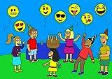 Emoji Balloon Happy Birthday Party - Set of 16 Pack Mylar Foil 18 Inch Helium Reusable Ballons For Congratulation Decoration Anniversary Festival Graduation Bouquet Gift Idea Engagement Celebration