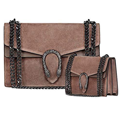 (RACHEL Italian cross body chain bag, designer evening purse, flap bag, suede genuine leather (Large/Medium Taupe))