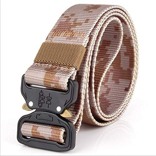 PIDAIKING Belt Men's Canvas Belt Metal Quick-Release Insert Buckle Military Nylon Training Belt Army Tactical Belts for Men Camouflage Male Outdoor Hunting Strap,B