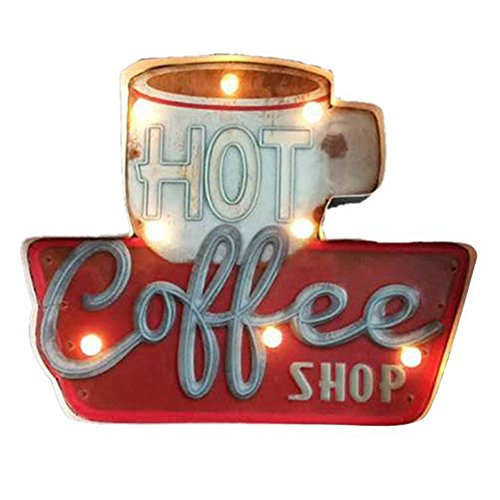 ZEKUI LED Metal Cafe Signs Vintage Hot Coffee Bar/Home Wall Decor Illuminated By Battery ()