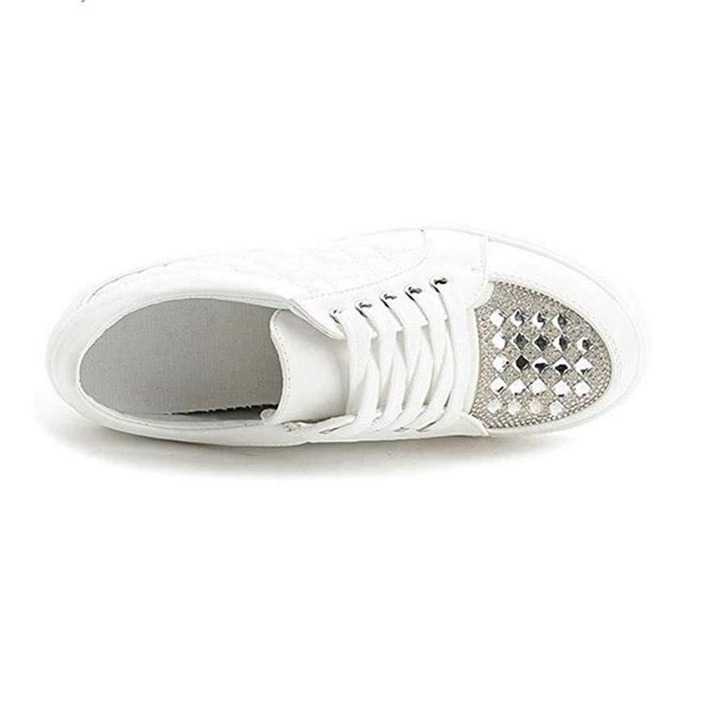 GONGFF Womens High Top Platform Sneakers Increased Height Hidden Heel Rhinestone Wedge Sports Shoes