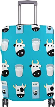 FOLPPLY Hipster Cow Milk Luggage Cover Baggage Suitcase Travel Protector Fit for 18-32 Inch