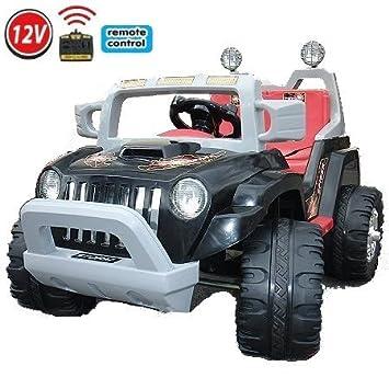 crooza ® JEEP - OffRoad Coche con Motor y Batería de 12V coches para niños **2x MOTORES** negro: Amazon.es: Juguetes y juegos