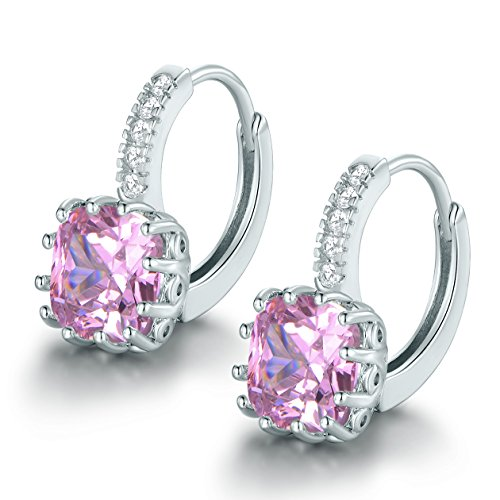 MASOP Pierced Small Leverback Drop Huggie Hoop Earrings Silver Tone Cushion-Cut Pink Zircon Cushion Cut Gemstone Leverback Earrings