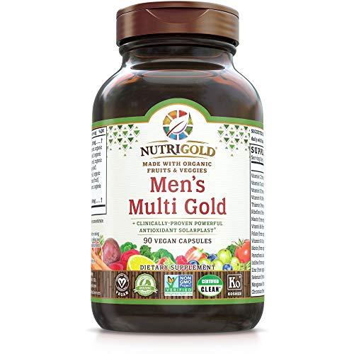 Organic Multivitamin for Men, Men's Multi Gold, 90 Capsules, Plant-Based Whole Food Multivitamin Without Iron, Non-GMO…