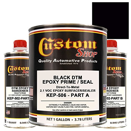 Custom Shop EPOXY PRIMER - BLACK - KIT-KEP506-GL DTM (Direct to Metal) 2.1 VOC Makes 1-1/2 Gallons Sprayable - For Automotive and Industrial Use by Custom Shop
