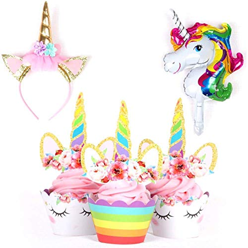 Unicorn Party Supplies | Unicorn cupcake toppers & wrappers double sided w/Rainbow cupcake decorations (SET of 24) | Includes Unicorn balloon & unicorn headband GIFT for Birthday Girl or Baby Shower.