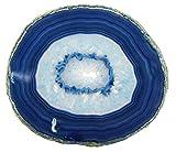 LARGE BLUE AGATE SLAB 4-5 INCH Geode Slice with Stand Crystal Mineral Gemstone Rock Gem