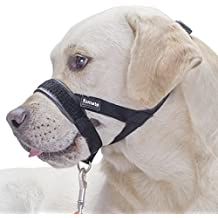 FOMATE Dog Muzzle, Quickly fit gentle head collar walk training loop stop pulling halter, Black Large