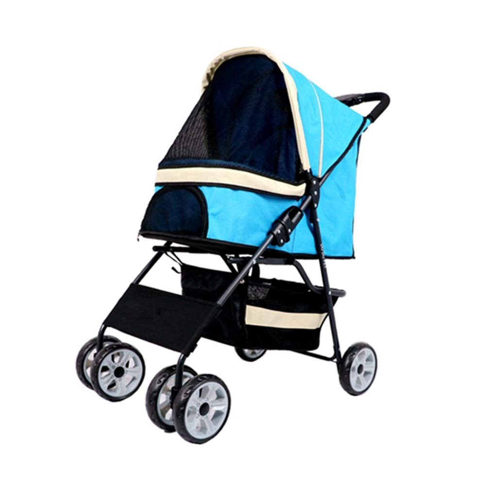 bluee 4wheels bluee 4wheels Ryan Dog Strollers, Pet Cat Carrier Dog Trolley Wheel Trailer Travel Transport Folding For Medium And Small Disabled Old Dog Pushchair Pet Stroller (color   bluee, Size   4wheels)