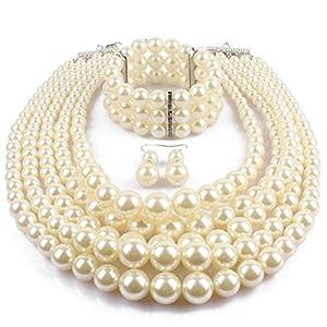 Multi Layer Pearl Strand Jewelry Sets