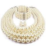 KOSMOS-LI Multi Layer Simulated Pearl Strand Costume Jewelry Sets