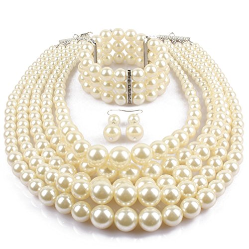 KOSMOS-LI Multi Layer Pearl Strand Necklace Bracelet And Earring Imitate Ivory Pearl Jewelry Set (Earrings And Bracelet Set)
