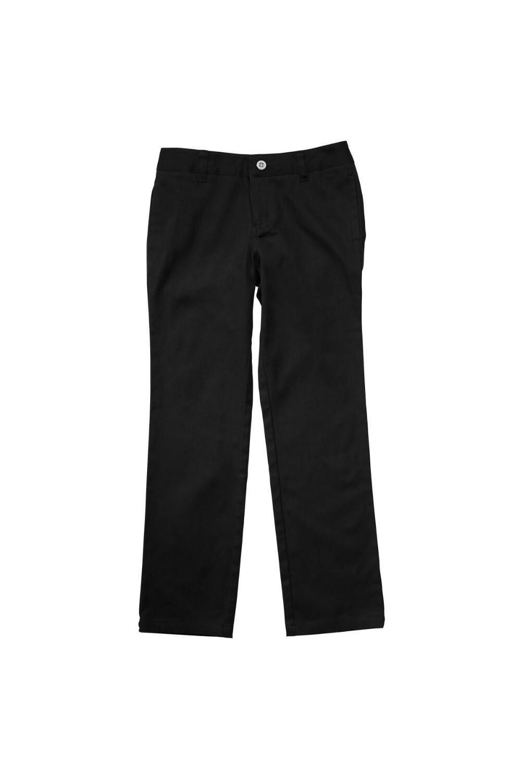 French Toast Big Girls' Stretch Twill Straight Leg Pant, Black, 7