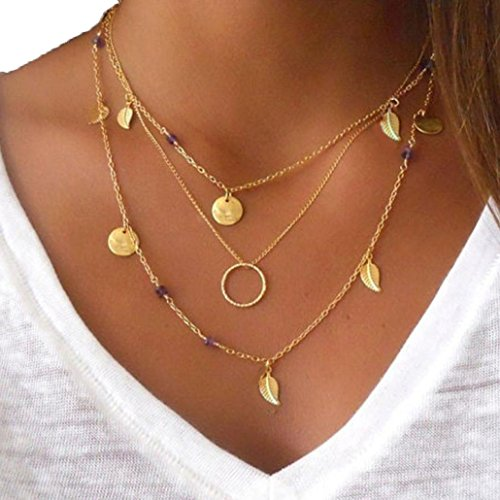 Female Superhero Costumes Tumblr (Usstore Women Bohemian Necklace Multilayer Irregular Paillette Leaf Bead Chain Statement Necklaces Gift)