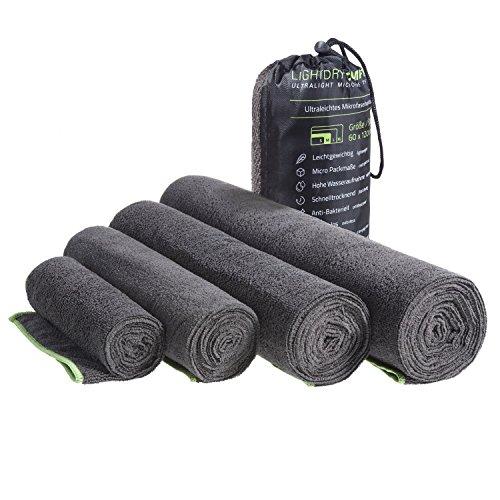 LightDRY Mikrofaser Handtuch Reisehandtuch für Sport und Trekking, Extra saugfähig & antibakteriell, 80x40cm, Schwarz-Grau