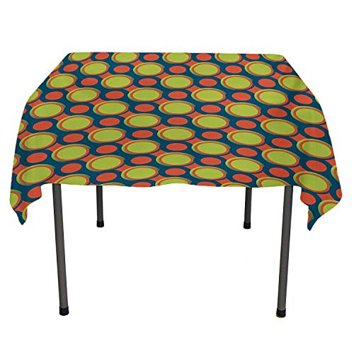 Retro Tablecloth Clear Protector Spotty Pattern with Orange and Green Circles in Diagonal Direction Blue Orange and Yellow Green Tablecloth for Picnic Tables Spring/Summer/Party/Picnic 36 by 36