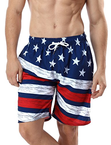 Full Elastic Swim Trunks - QRANSS Men's USA American Flag Swim Trunks