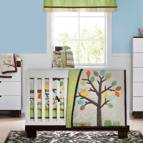 Tree Top Friends Owl (Arbor Friends 4 Piece Baby Crib Bedding Set by Not Neutral)