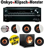Onkyo TX-NR545 7.2-Channel Network A/V Receiver + 5 Klipsch - CDT3800CII + Klipsch - R115SW + Monster Cable - PLATXPMS50 Bundle