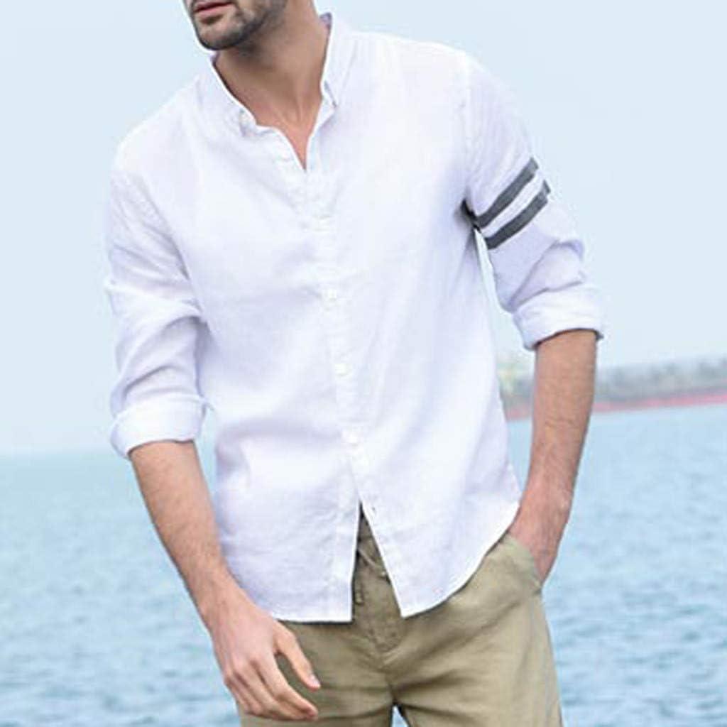 linqiudD Fashion Men Vintage Pure Color Button Linen Solid Long Sleeve Retro Shirts Tops Blouse