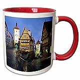 "3dRose mug_189337_5 ""Germany, Bavaria, Rothenburg Ob Der Tauber, Building & Streets Two Tone Red"" Mug, 11 oz, Red/White"