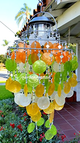 SOLAR CAPIZ SHELL WINDCHIMES/CHANDELIER MIXED PASTEL CAPIZ CHIMES WITH SOLAR LIGHT