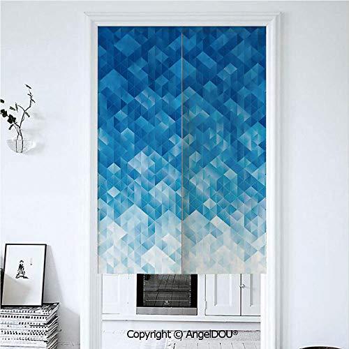 (AngelDOU Geometric Home Doorway Curtains Decorative Screen Geometric Gradient Digital Texture with Mosaic Triangle Pattern Pixel Graphic Print for Hallway Kitchen Hotel Restaurant. 33.5x59 inches)