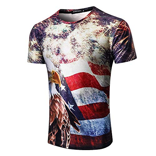 Independence Day Short Sleeve for Men, MmNote Full Body Flag Print Fashion Slim Stretch Cool Quick Classic Short Sleeve]()