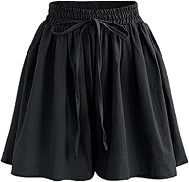 Gooket Womens Elastic Waist Casual A Line Culottes Wide Leg Shorts with Drawstring