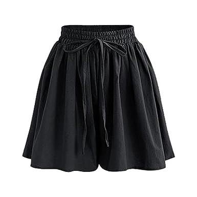 e719a69832 Gooket Women's Summer Chiffon Wide Leg Shorts High Waist Culottes Shorts  with Decorative Drawstring Black Tag