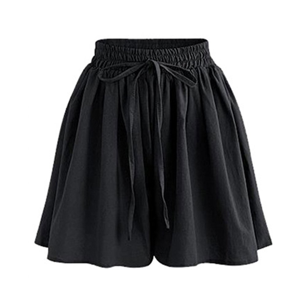 Women's Summer Drawstring Wide Leg Chiffon Shorts High Waist Culottes Shorts Black Tag 6XL-US 16 by Gooket (Image #1)