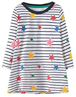 Fiream Toddler Girls Cotton Longsleeve Casual Dresses Applique Cartoon