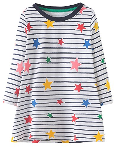 MISSHALO Girls Summer Casual Cotton Short Sleeves Printed Dresses
