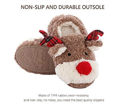 Slippers for Women, Cute Reindeer Animal Fluffy House Winter Ladies Slippers Shoes, Comfortable Non Skid Home Slippers by WAREN (Image #1)